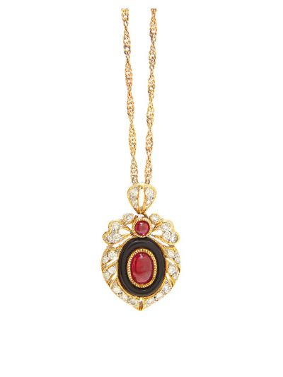 Royal Red Ruby Victorian Pendant in 18K Yellow Gold