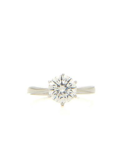 1.34 Carat Preset Slim Band Solitaire Engagement Ring in 18K White Gold