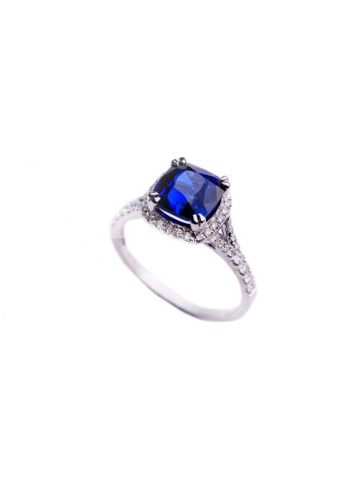 2.60 Carat Royal Blue Sapphire Cushion Diamond Ring in 18K White Gold